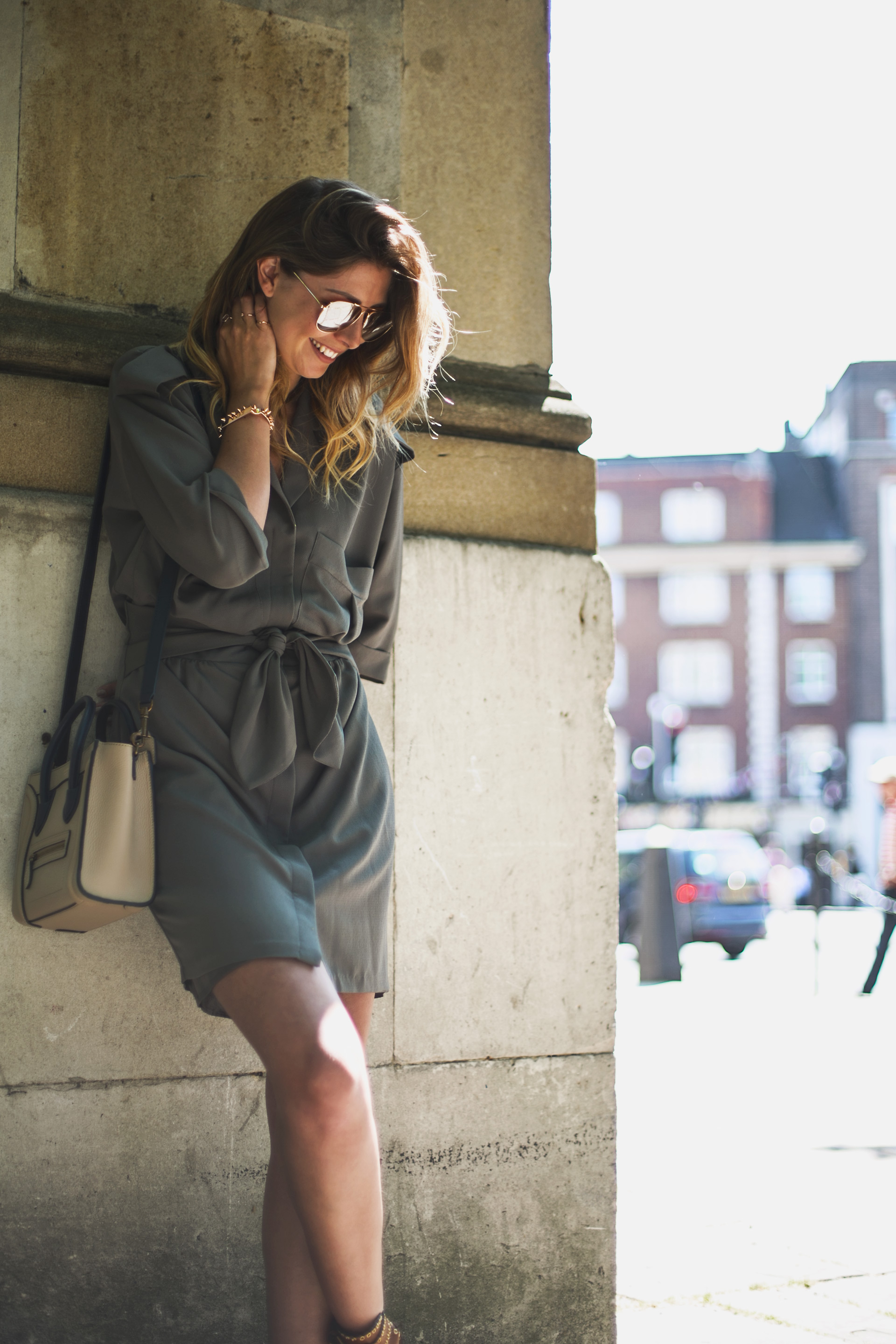 khaki-shirt-dress-celine-nano-aviator-sunglasses