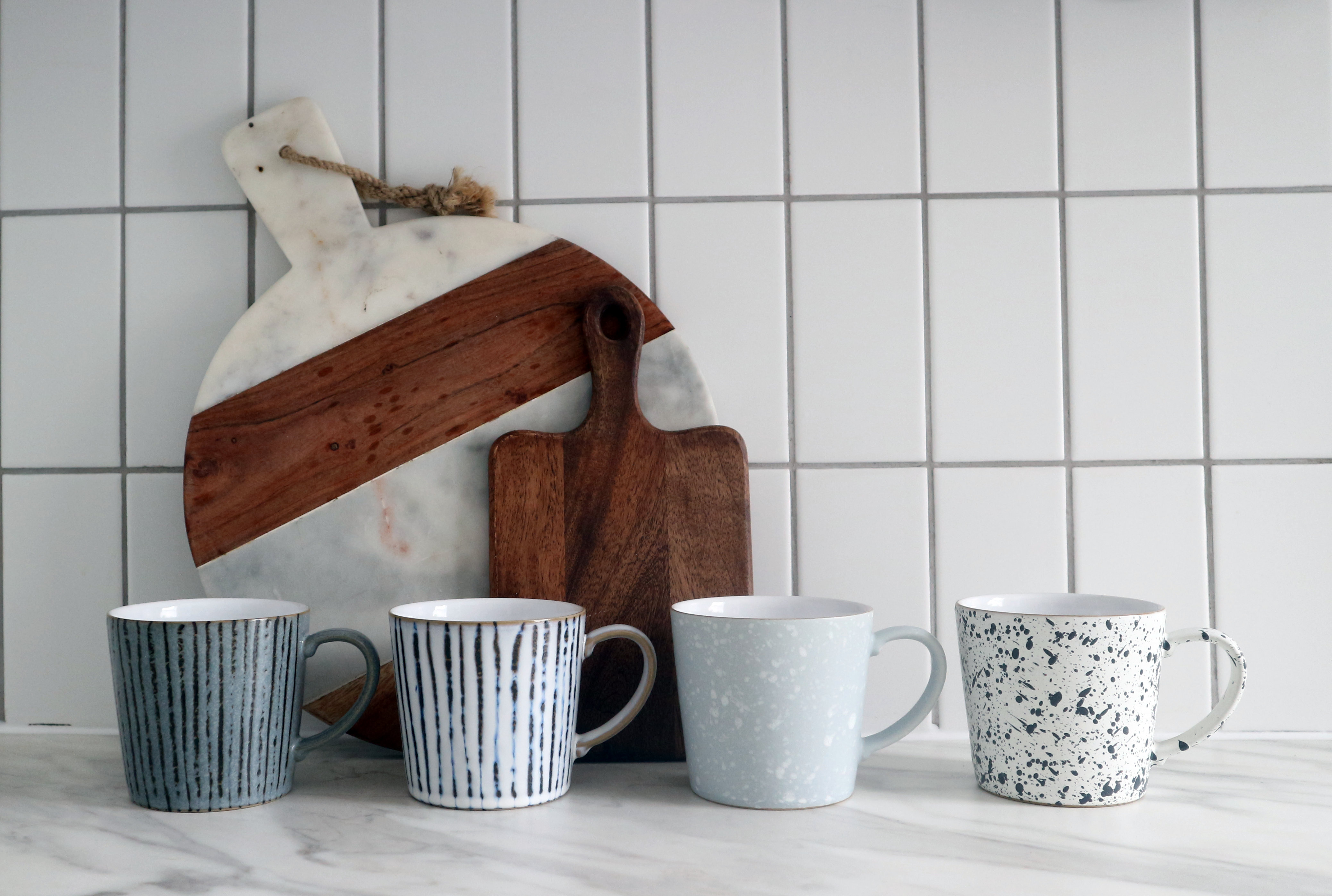 Denby hand decorated mugs