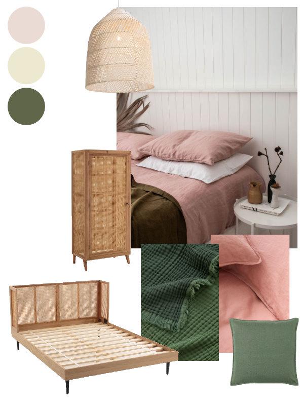 Pink and green bedroom scheme